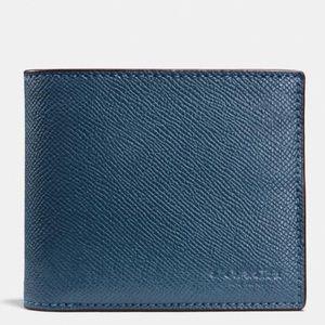 """Coach """"Dark Denim"""" color Compact ID wallet"""